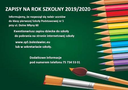 ZAPISY NA ROK SZKOLNY 2019/2020