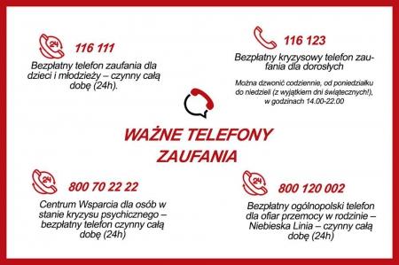 WAŻNE TELEFONY ZAUFANIA