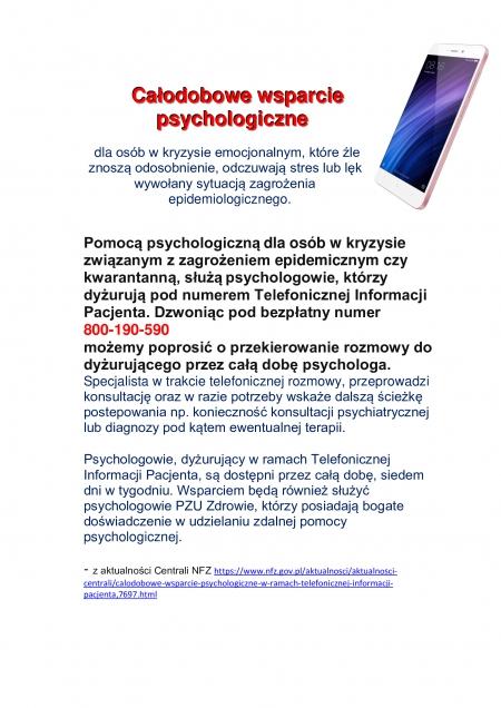 CAŁODOBOWE WSPARCIE PSYCHOLOGICZNE